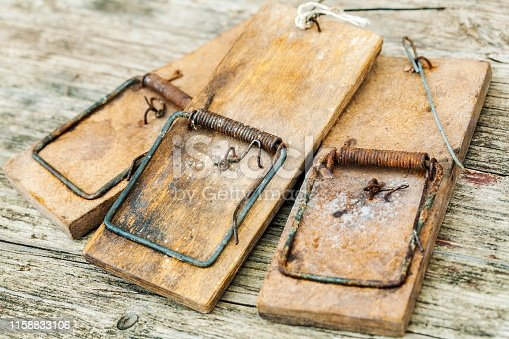 Vintage mouse traps on wooden table