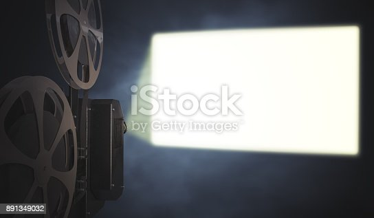 istock Vintage movie projector is projecting blank screen on wall. 3D rendered illustration. 891349032