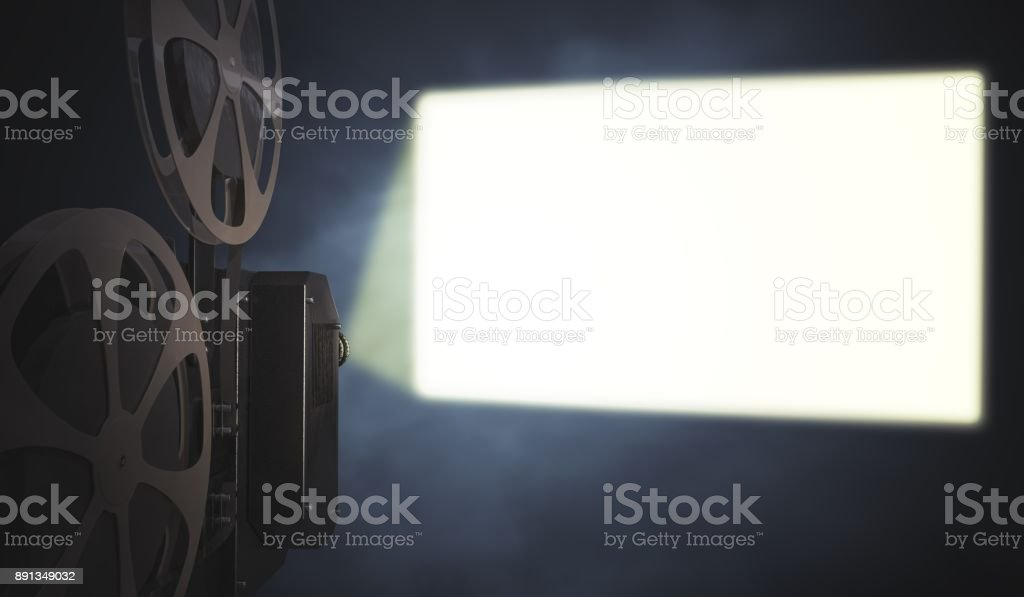 Vintage movie projector is projecting blank screen on wall. 3D rendered illustration. stock photo
