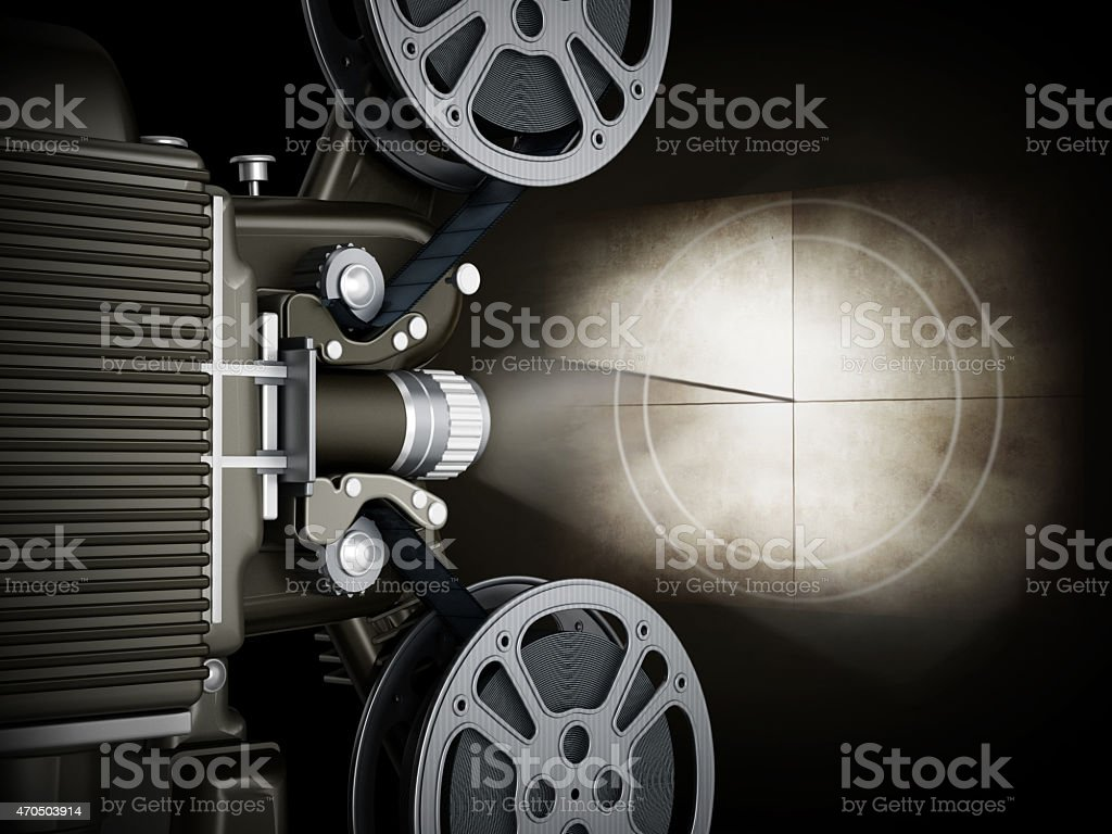 Vintage movie projector and countdown icon on the screen.
