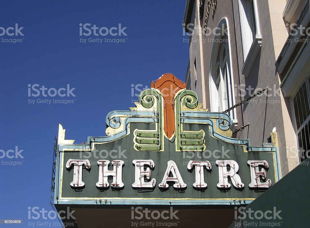 Vintage movie theater marquee sign stock photo