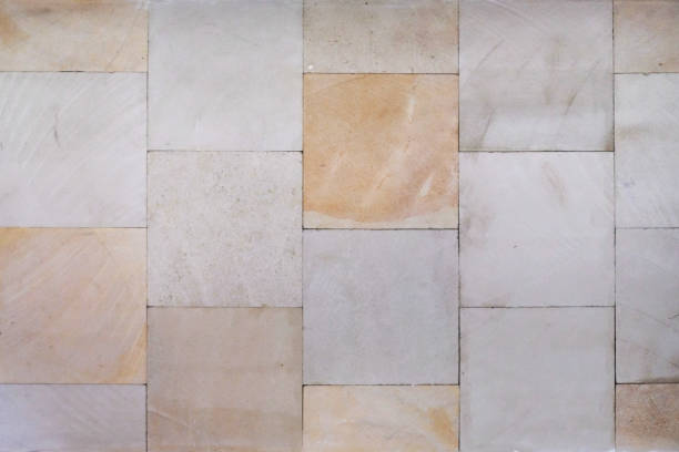 Vintage multi colored sand stone tile backgrounds stock photo