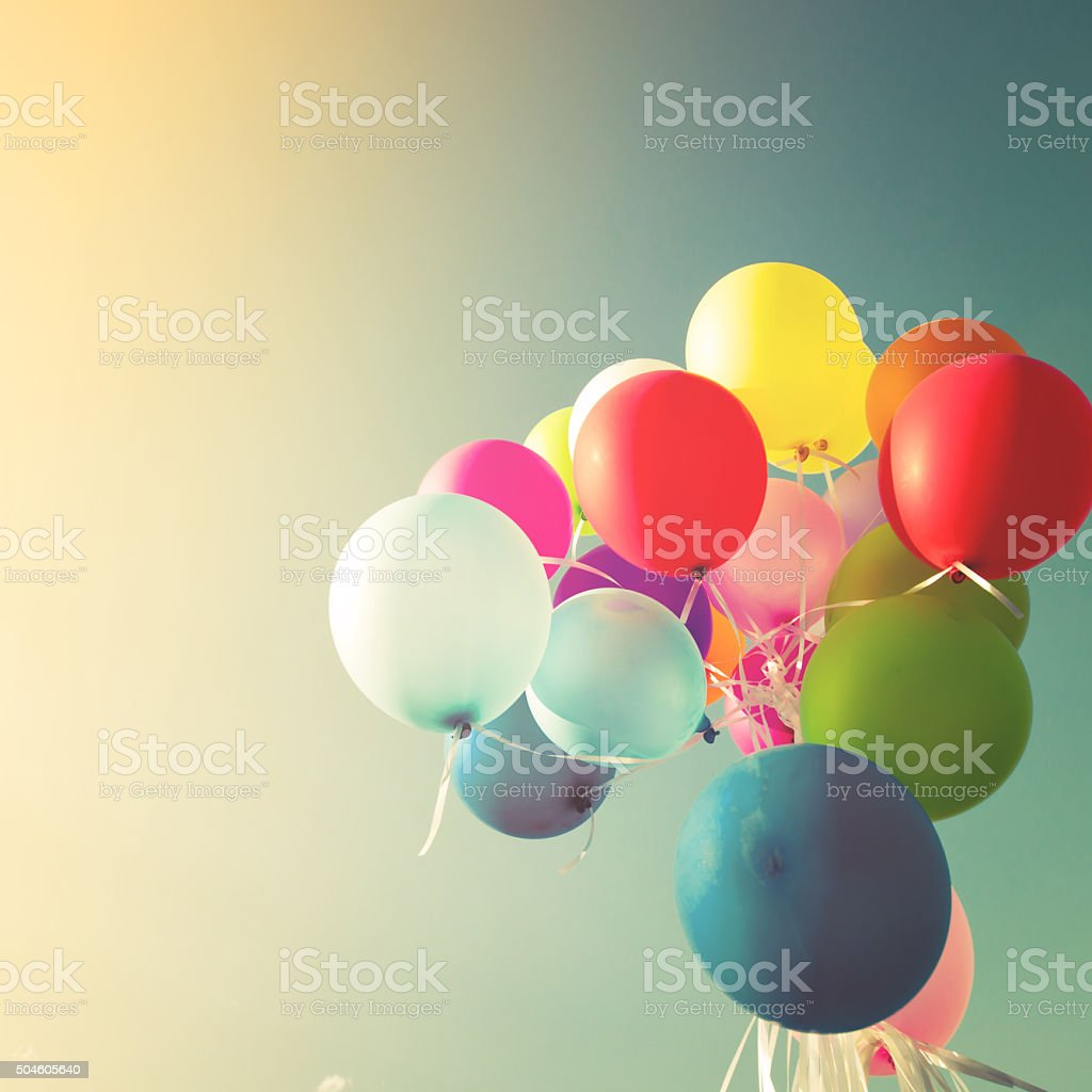 Vintage multicolored balloons stock photo