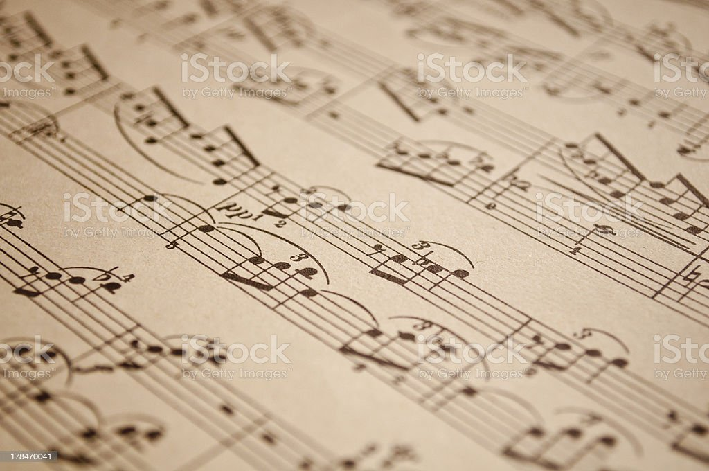 Vintage music notes stock photo