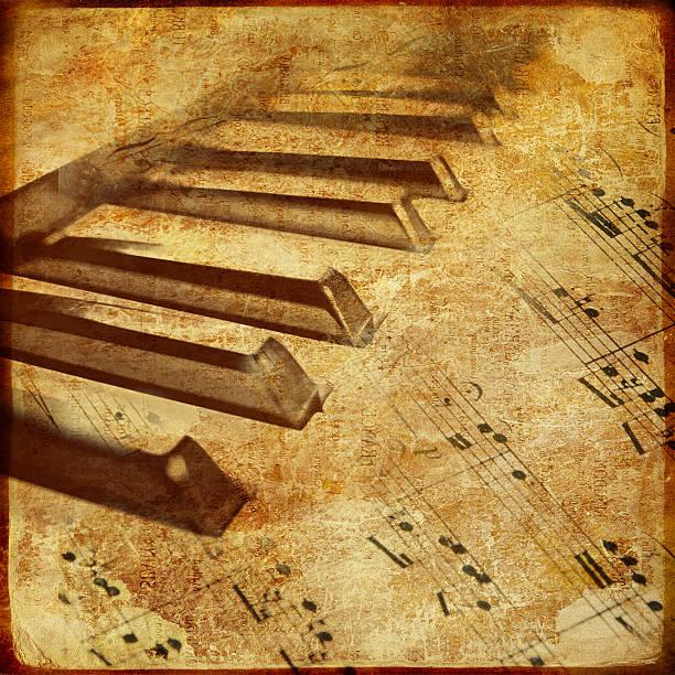 vintage-musik - piano noten stock-fotos und bilder