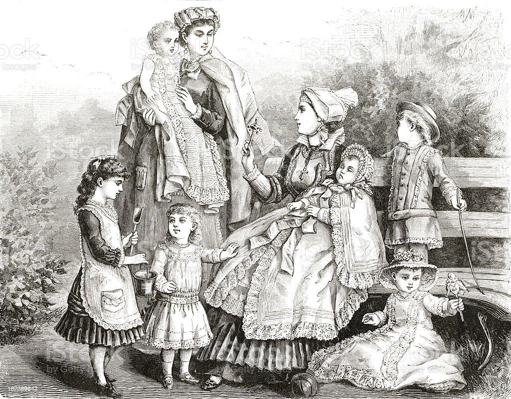 Vintage Nannies engrave royalty-free stock photo
