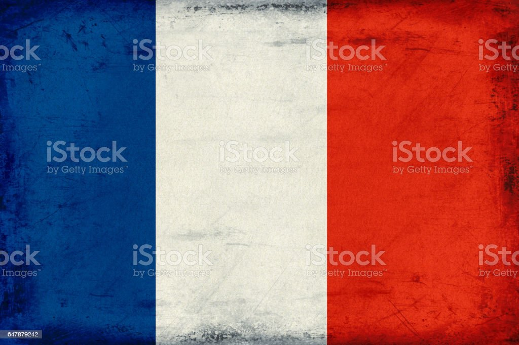 Vintage national flag of France background stock photo