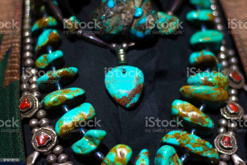 Vintage Native American Turquoise Necklace Stock Photo More