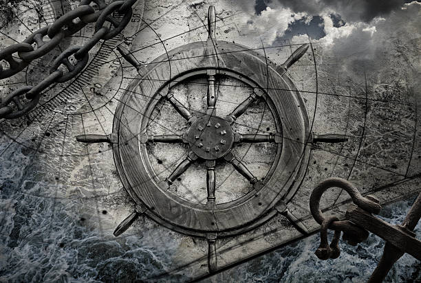 vintage navigation background illustration with steering wheel, charts, anchor, chains - pirates stock photos and pictures