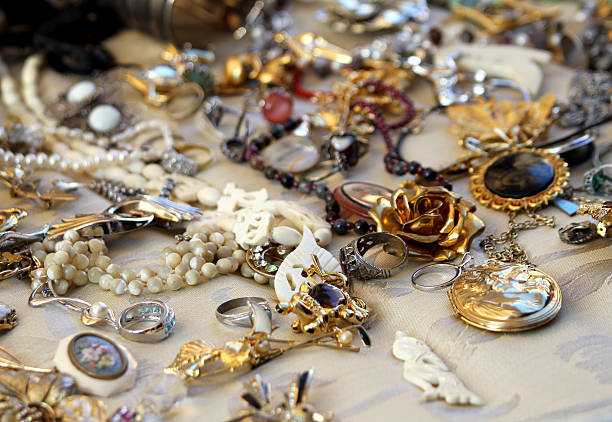 vintage necklaces and jewelry for sale in the antique shop stock photo