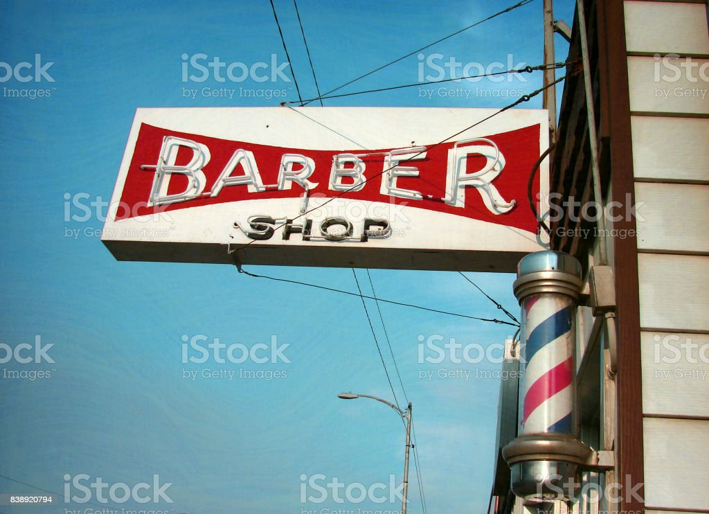 vintage neon barber shop sign stock photo