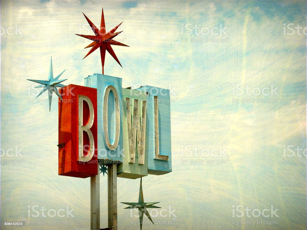 vintage neon bowl stock photo