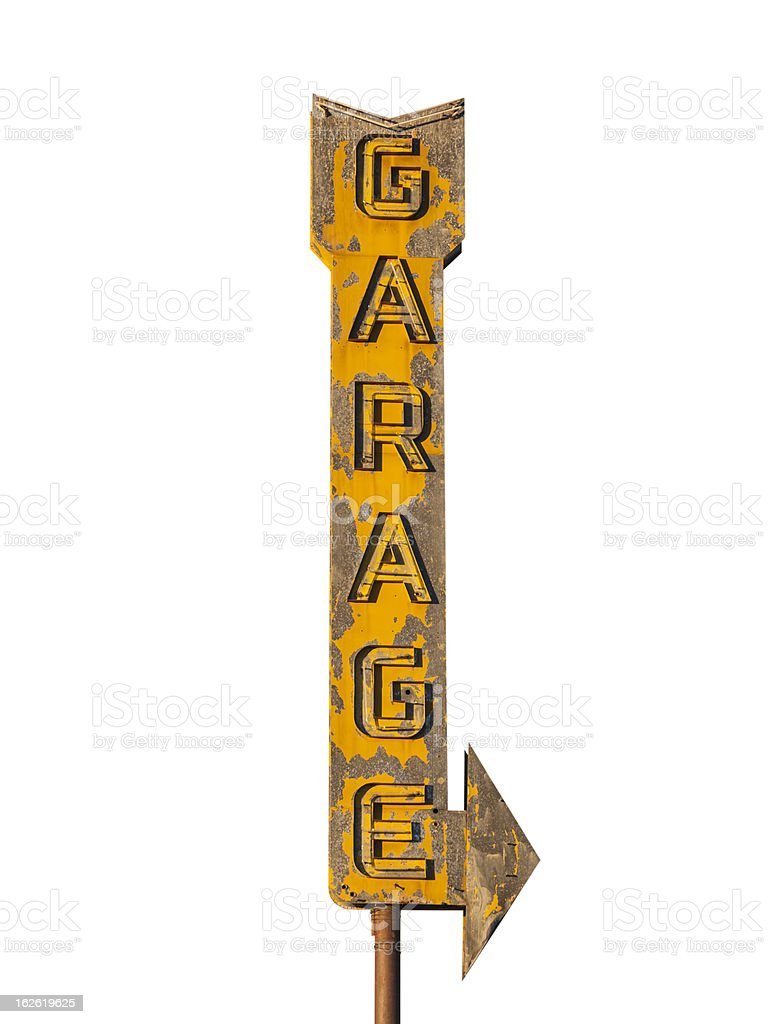 Vintage Neon Garage Arrow Sign Ruin stock photo