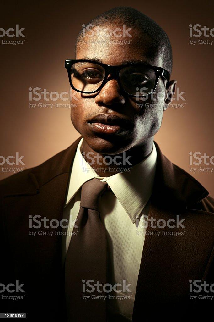 Vintage Nerd Man in Brown Tones stock photo