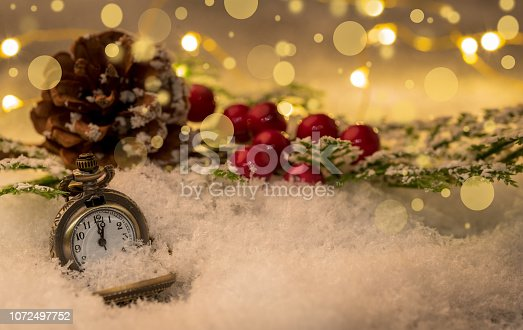 1025550352 istock photo Vintage New year clock and cones covered with snow. 1072497752