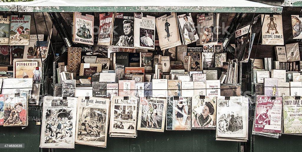 vintage news kiosk in Paris stock photo