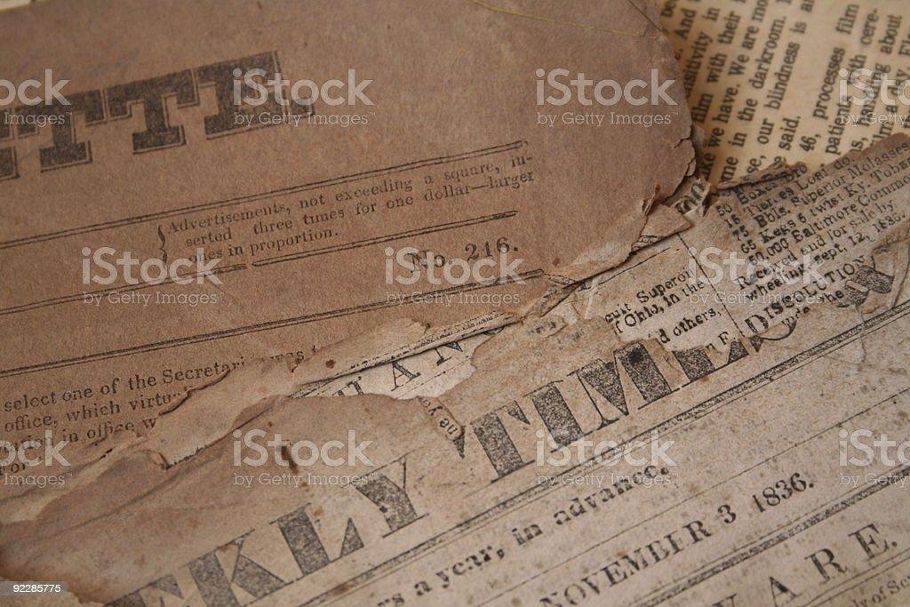 Vintage newspapers stock photo