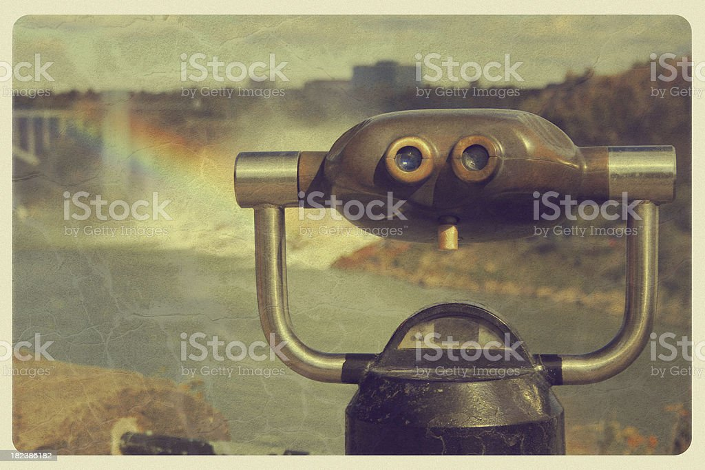 Vintage Niagara Falls Postcard - Coin-Op Binoculars stock photo