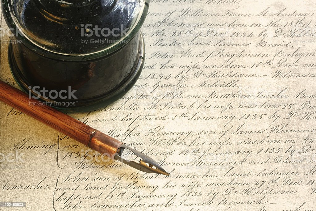 Vintage Nib Pen and Inkwell stock photo
