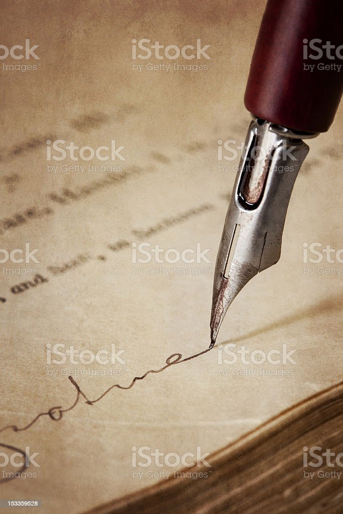 Vintage Nib Pen Signing Old Paper royalty-free stock photo