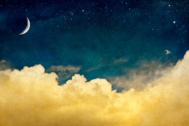 vintage night sky with crescent moon and clouds - shooting stars stock photos and pictures