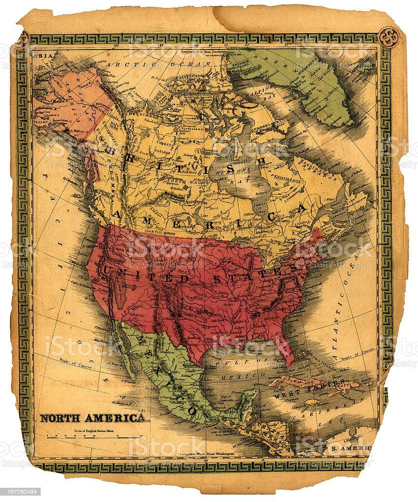 vintage north america map stock photo