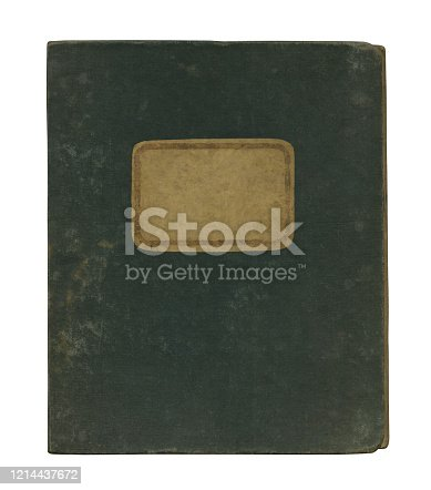 Close-up of an old notebook cover (approx. 1900) with name label isolated on white background