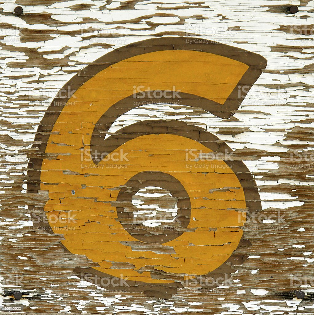 vintage number six royalty-free stock photo