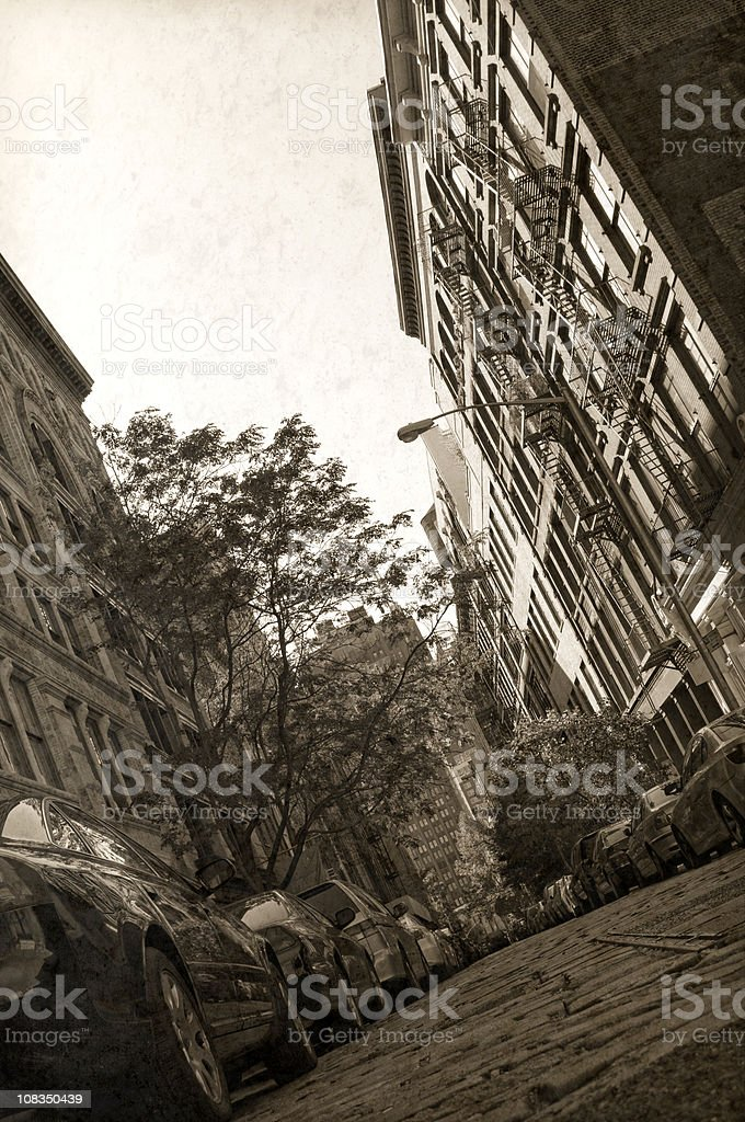 Vintage NYC Street and Tenements royalty-free stock photo