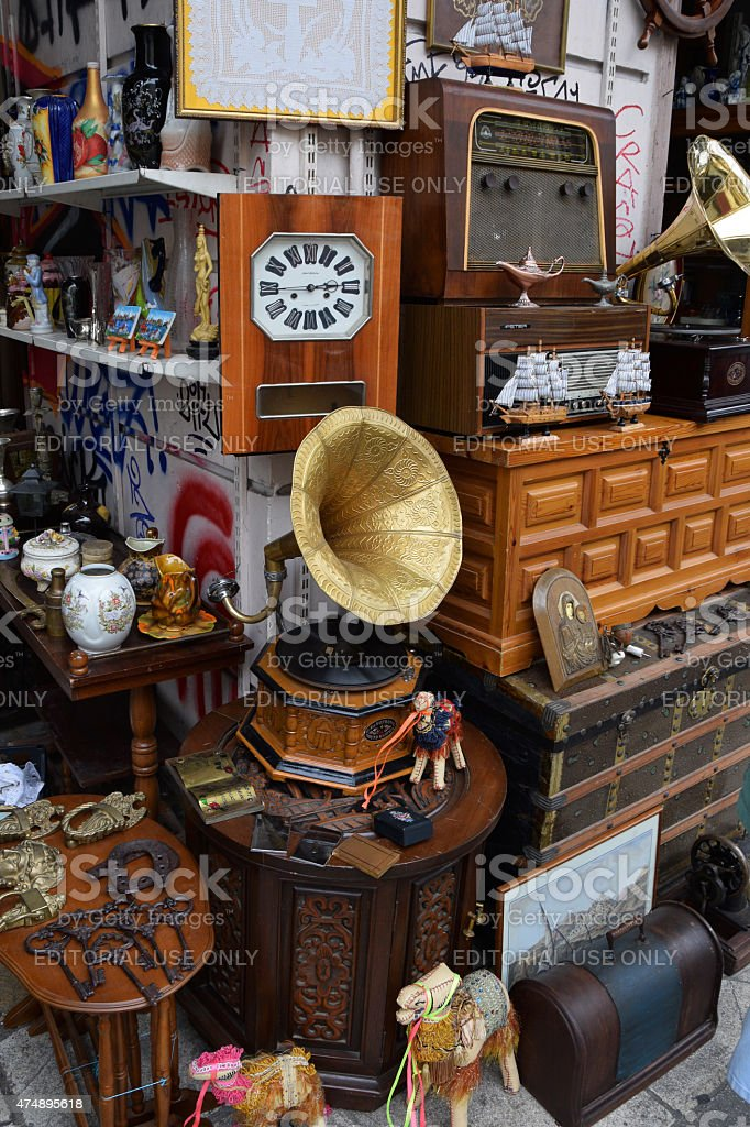 빈티지 개체 골동품 가게 스톡 사진
