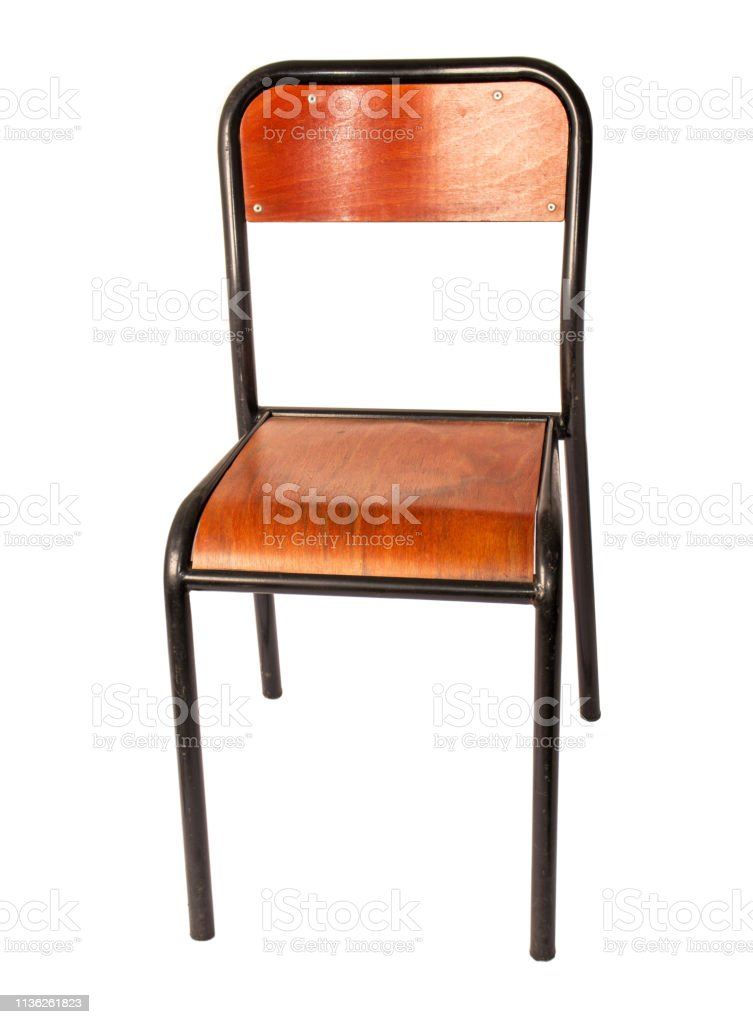 Vintage Office Chair With A Wooden Seat On Metal Legs Stock Photo Download Image Now Istock