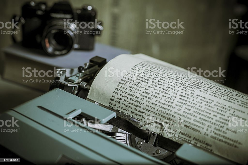 Vintage Office with Typewriter and Reflex Camera royalty-free stock photo
