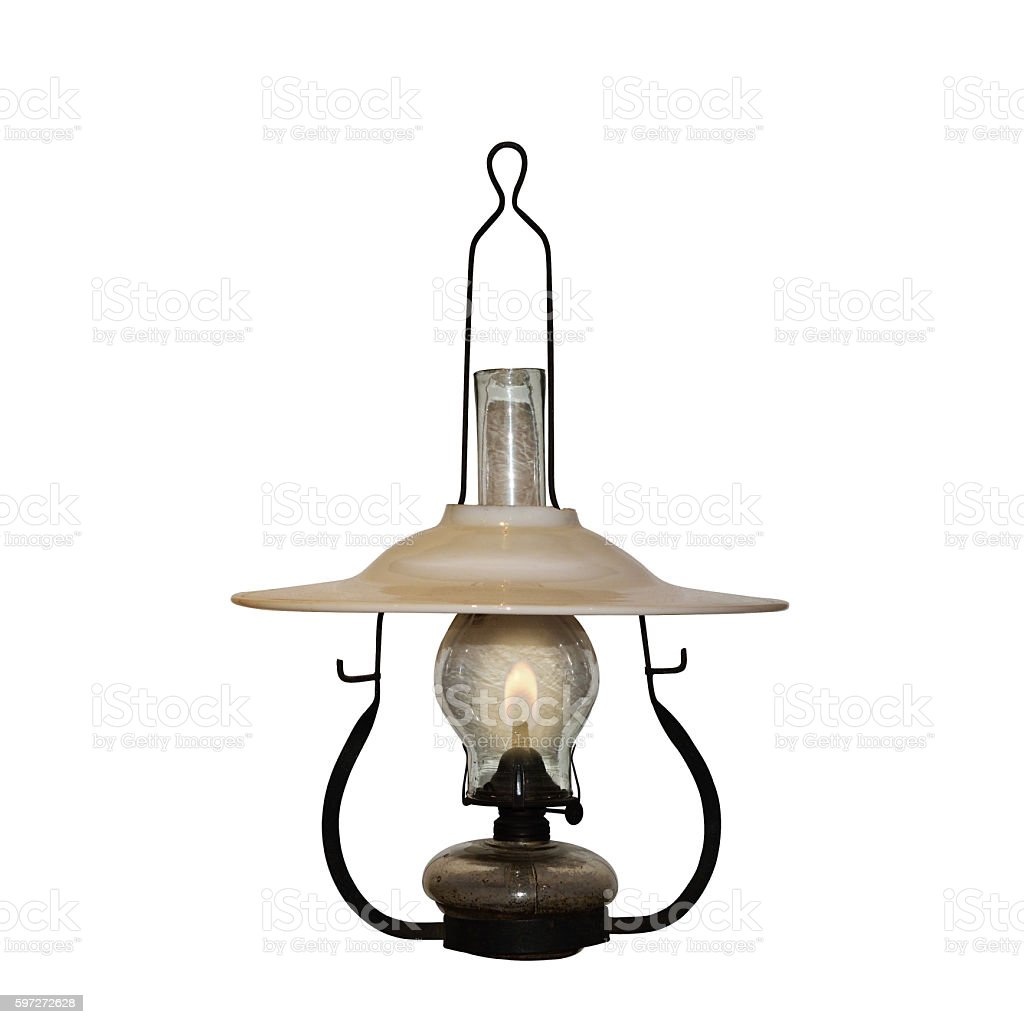 Vintage oil lamp, 1910s - 1920s, on white background. royalty-free stock photo
