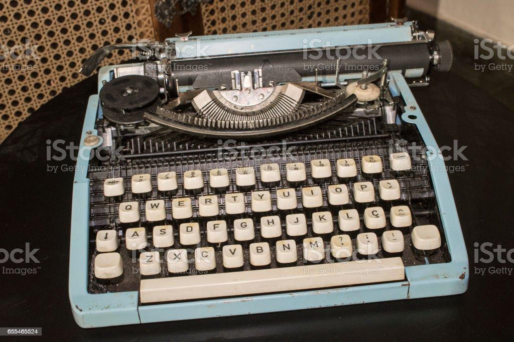 Vintage Old Blue Typewriter Retro 80s Concept Image Stock Photo