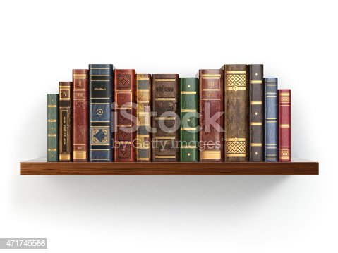 istock Vintage old books on shelf isolated white. 471745566