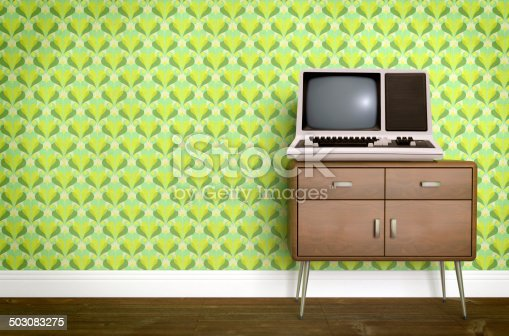 181053292istockphoto Vintage old computer on sixties, seventies wallpaper and furniture 503083275