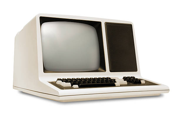 vintage old computer, rounded monitor, keyboard, eighties revival, white background - mainframe stock pictures, royalty-free photos & images