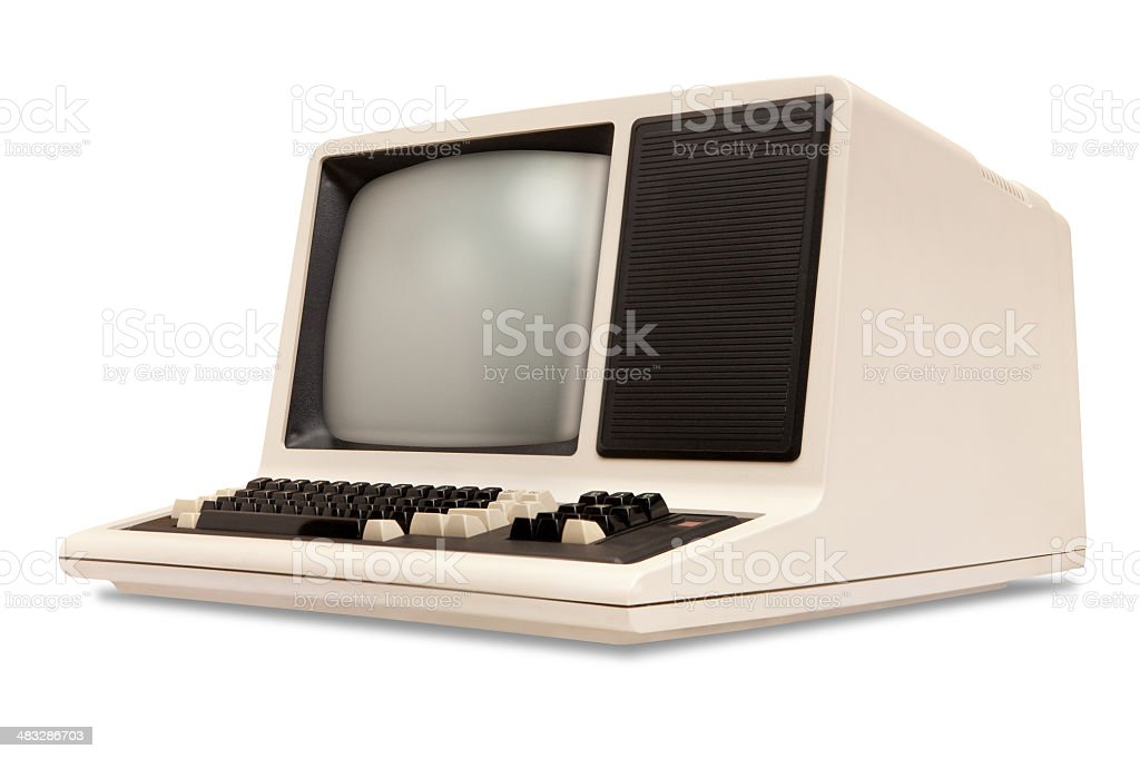 Vintage old computer, rounded monitor, keyboard, eighties revival, white background stock photo