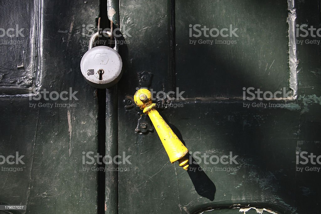 Vintage Old Door knob with a Lock royalty-free stock photo