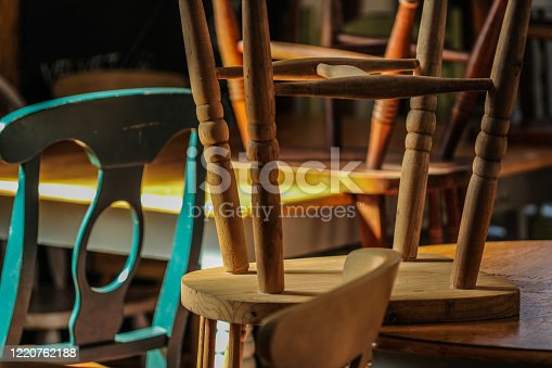 Vintage old wooden furniture chairs and tables still life picture