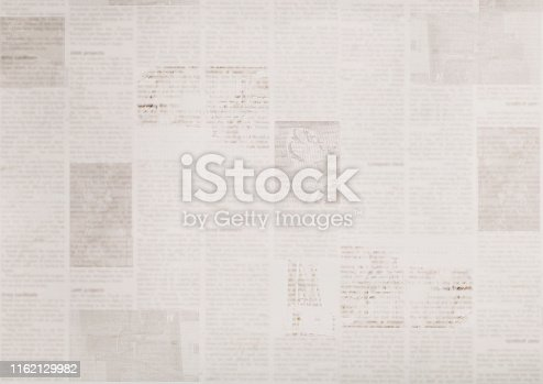 istock Vintage old grunge newspaper paper texture background 1162129982