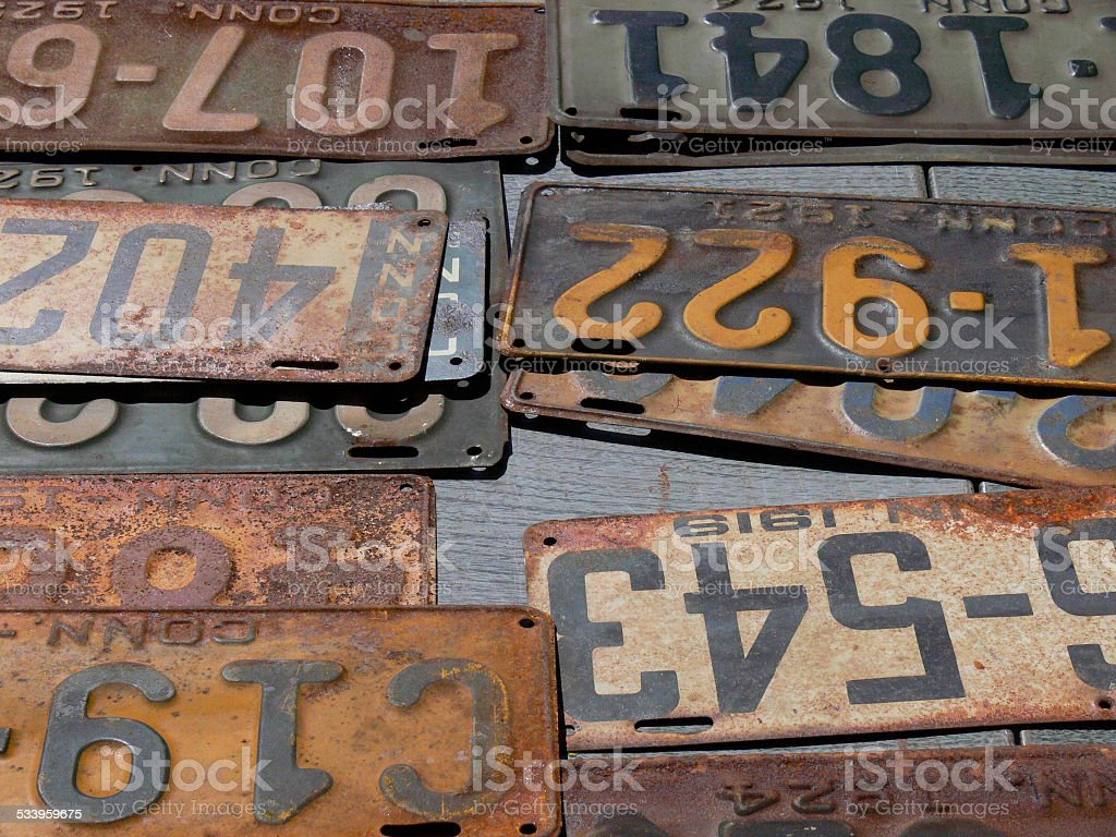 Vintage Old License Plates Stock Photo & More Pictures of 2015 | iStock