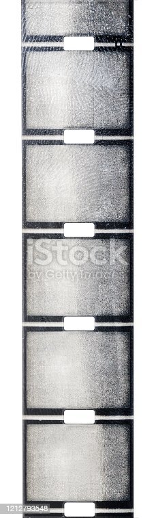 1125303139 istock photo vintage old nine and a half or 9,5mm film strip with middle or central perforation isolated on white background, safetyfilm or old school exposed filmstripe. 1212793548