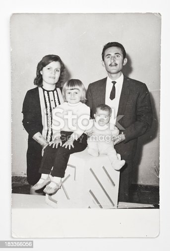 Old family picture was shot in a studio in 1960s
