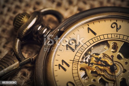 istock Vintage Old Pocket watch 663958080