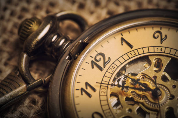 vintage old pocket watch - watch timepiece stock photos and pictures