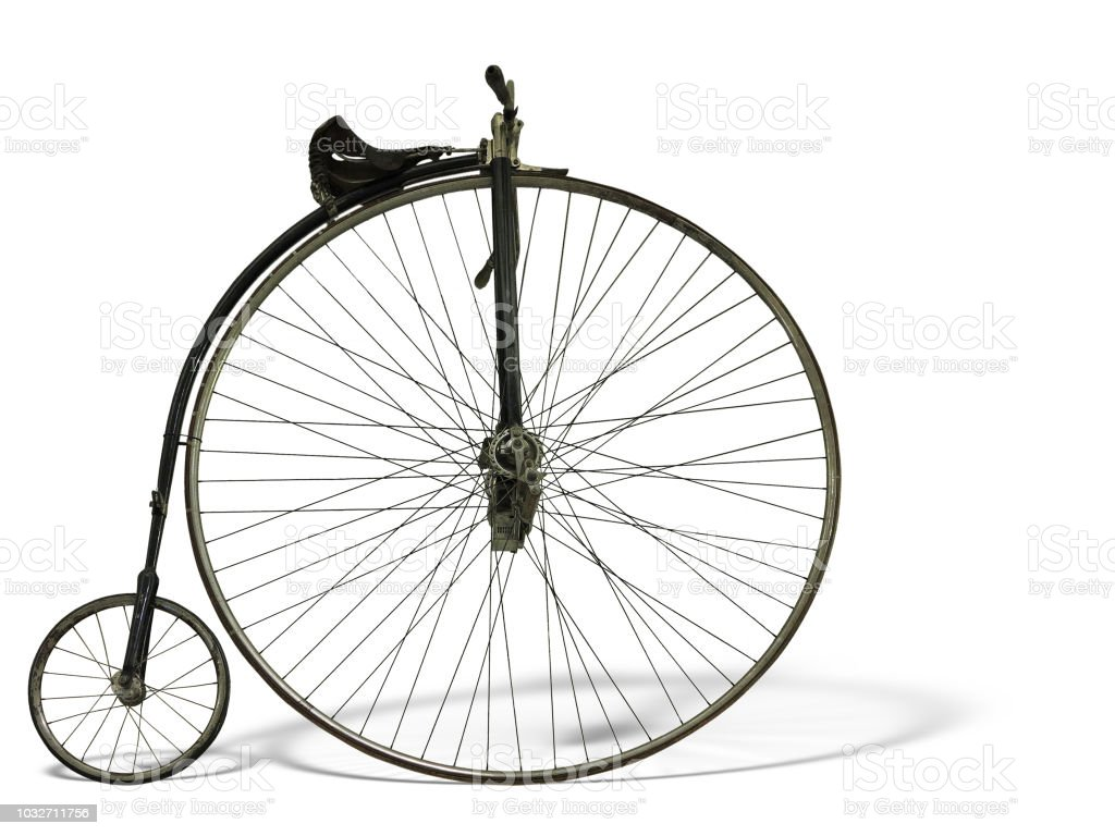 Vintage old retro bicycle isolated on white background stock photo