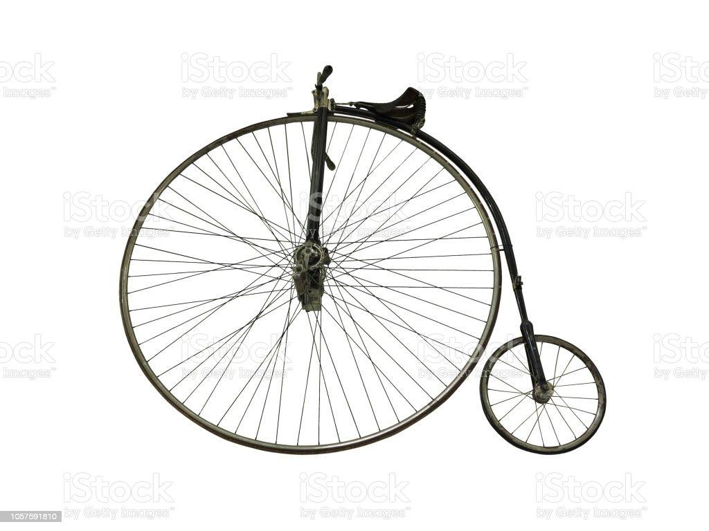 Vintage old retro bicycle isolated on white background stock photo