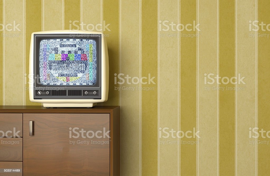 Vintage old television showing static signal, test pattern, wallpaper stock photo
