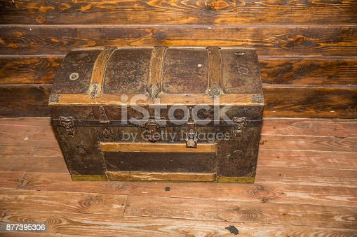 istock vintage old treasure iron chest to the money for good luck 877395306